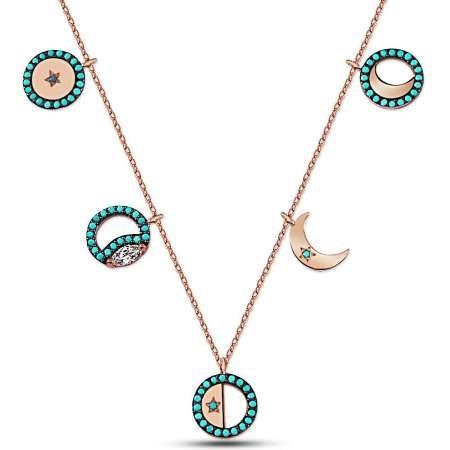 Turkuaz Taşlı Ay Tasarım 925 Ayar Gümüş Bayan Kolye ve Parfüm Seti - Thumbnail