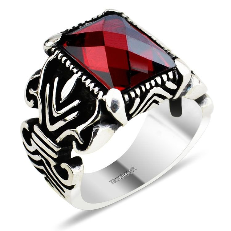 925 Ayar Gümüş Kristal (Kırmızı) Zirkon Taşlı Yüzük (KR0023)
