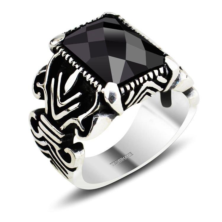 925 Ayar Gümüş Kristal (Siyah) Zirkon Taşlı Yüzük