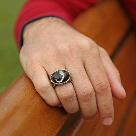 925 Ayar Gümüş Kristal Taşlı Oval Model Vav Harfi Yüzük - Thumbnail