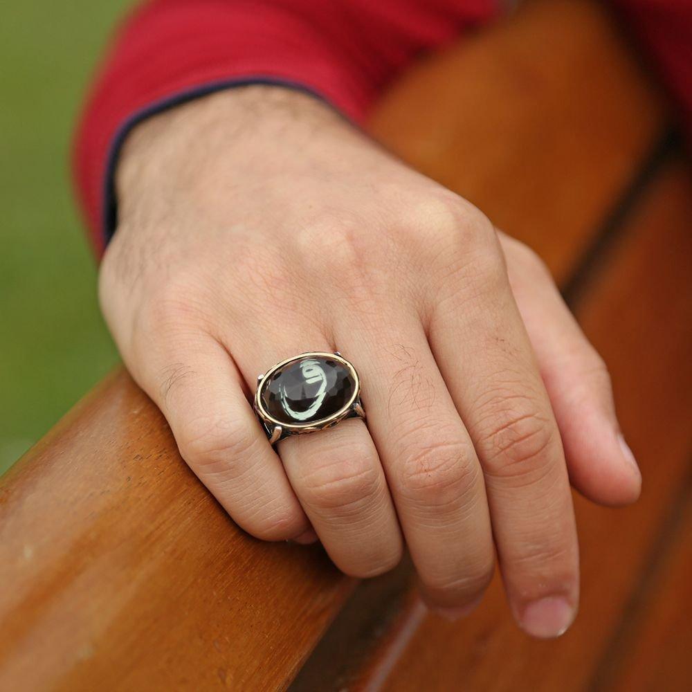 925 Ayar Gümüş Kristal Taşlı Oval Model Vav Harfi Yüzük