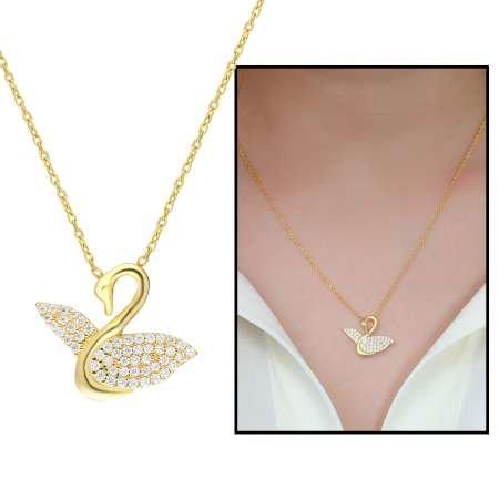 Beyaz Zirkon Taşlı Kuğu Tasarım 925 Ayar Gümüş Bayan Kolye - Thumbnail