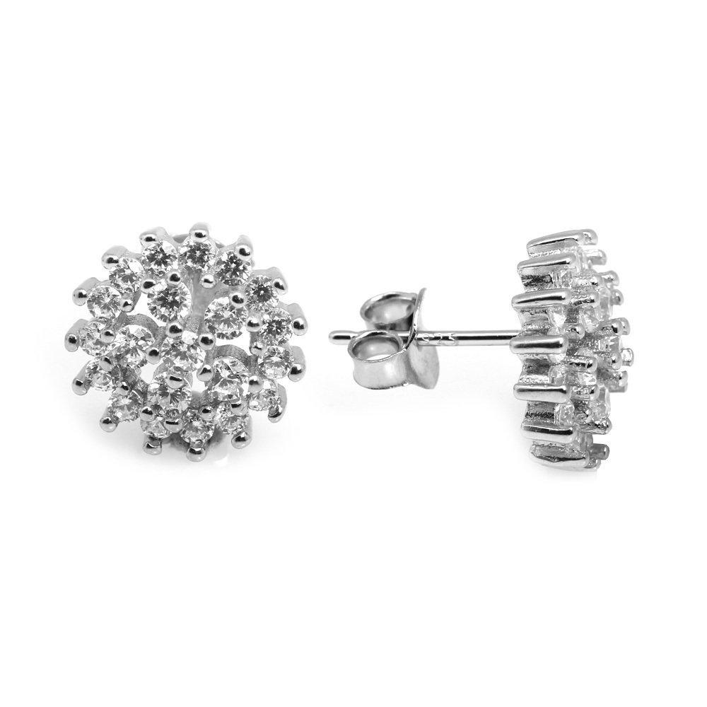 Zirkon Taşlı Çiçek Tasarım 925 Ayar Gümüş Küpe