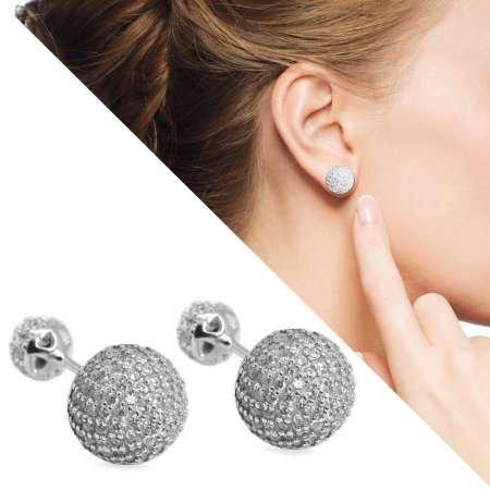 Zirkon Taşlı Küre Tasarım 925 Ayar Gümüş Küpe - Thumbnail