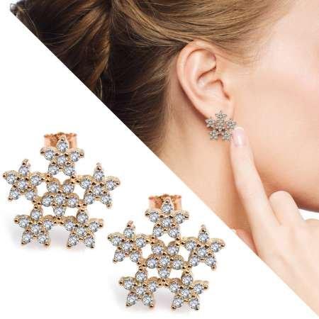 Zirkon Taşlı 6'lı Yıldız Tasarım Gold Renk 925 Ayar Gümüş Küpe - Thumbnail