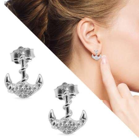 Zirkon Taşlı Çapa Tasarım 925 Ayar Gümüş Küpe - Thumbnail