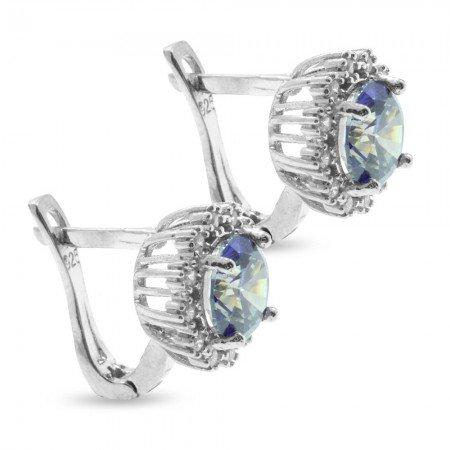 Beyaz-Mavi Zirkon Taşlı Yuvarlak Tasarım 925 Ayar Gümüş Küpe - Thumbnail