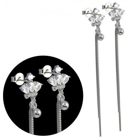 Zirkon Taşlı Zincirli Balon Tasarım 925 Ayar Gümüş Küpe - Thumbnail