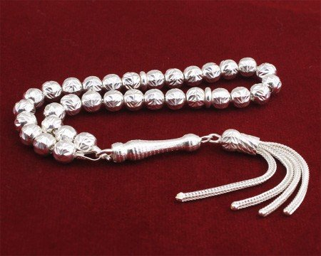 925 Ayar Gümüş Küre Kesim Tesbih - Thumbnail