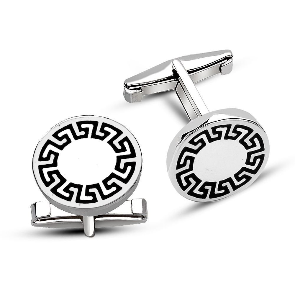 925 Ayar Gümüş Labirent Tasarım Kol Düğmesi
