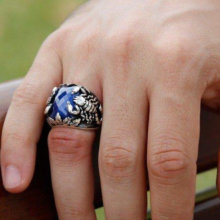 Akrep Motifli Lacivert Zirkon Taşlı 925 Ayar Gümüş Erkek Yüzük - Thumbnail