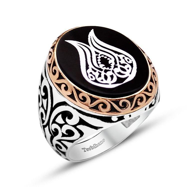 925 Ayar Gümüş Lale Desenli Oniks Taşlı Yüzük