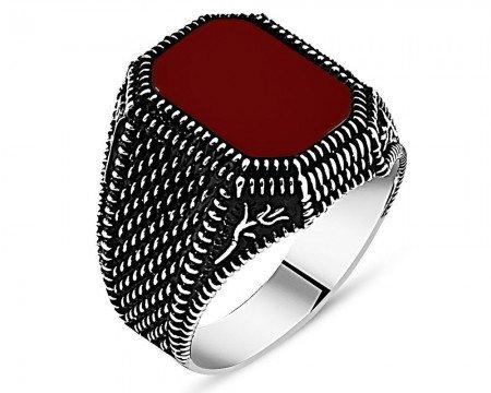 Lale İşlemeli Kırmızı Akik Taşlı 925 Ayar Gümüş Erkek Yüzük - Thumbnail