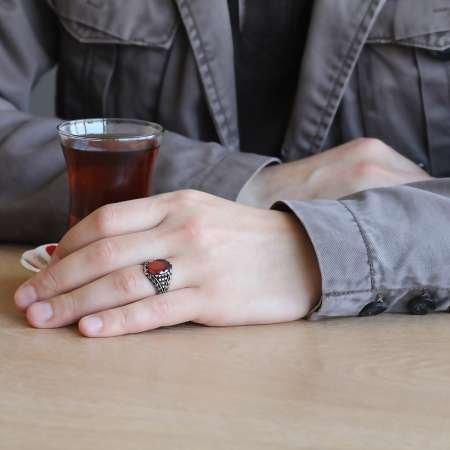 925 Ayar Gümüş Lale Motifli Kırmızı Zirkon Taşlı Erkek Yüzük - Thumbnail