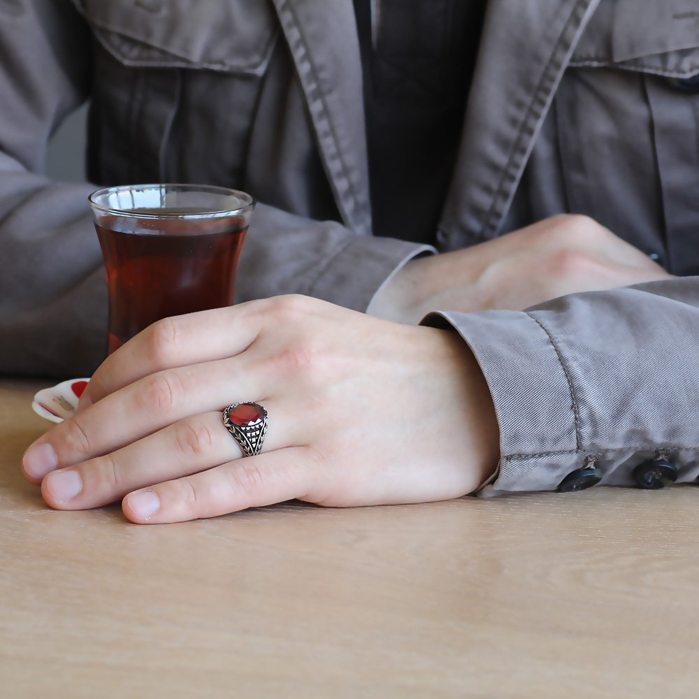 925 Ayar Gümüş Lale Motifli Kırmızı Zirkon Taşlı Erkek Yüzük