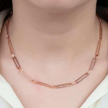 925 Ayar Gümüş Long Figaro Bayan Zincir Kolye - Thumbnail