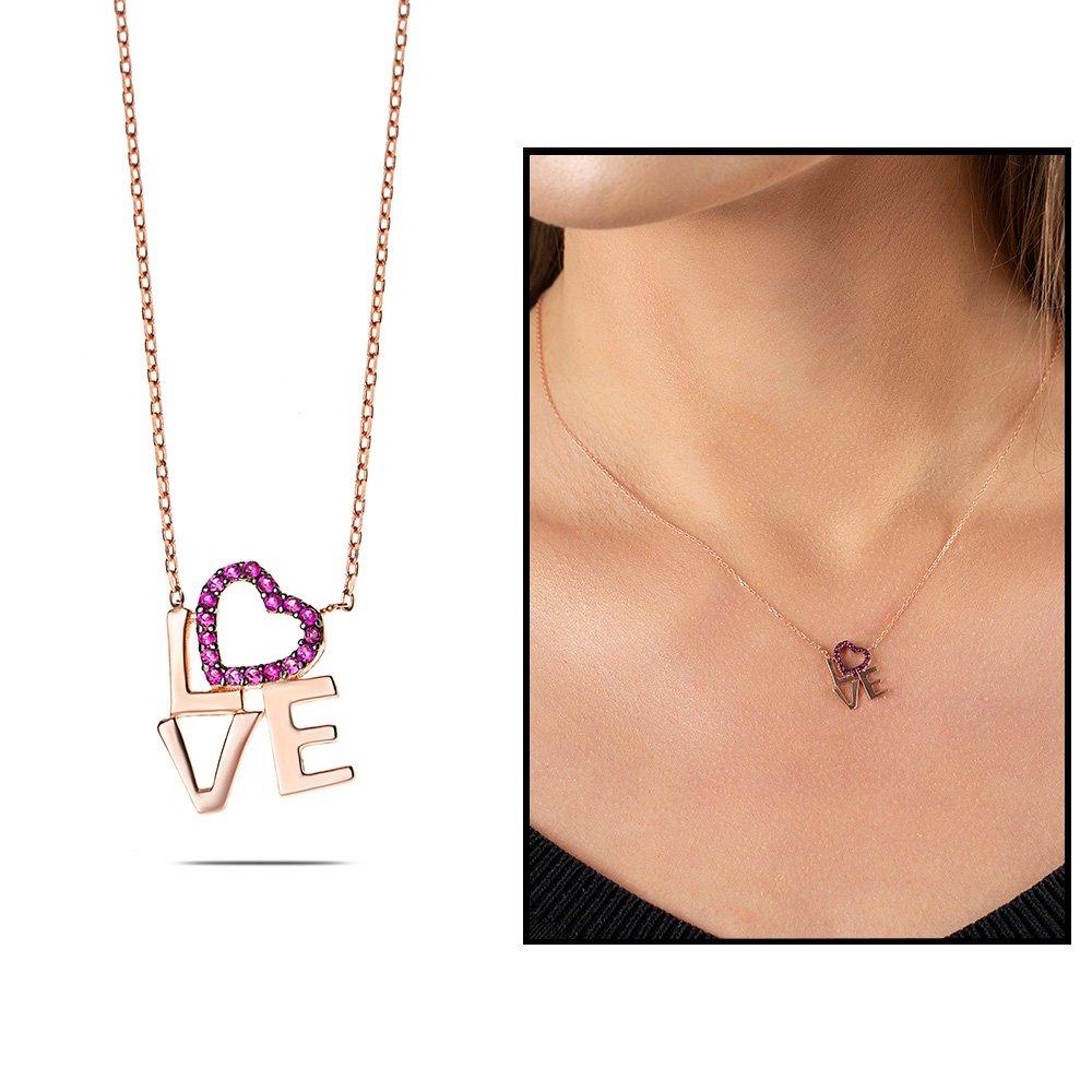 Pembe Zirkon Taşlı Love-Kalp Tasarım 925 Ayar Gümüş Bayan Kolye