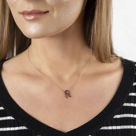 Pembe Zirkon Taşlı Love-Kalp Tasarım 925 Ayar Gümüş Bayan Kolye - Thumbnail