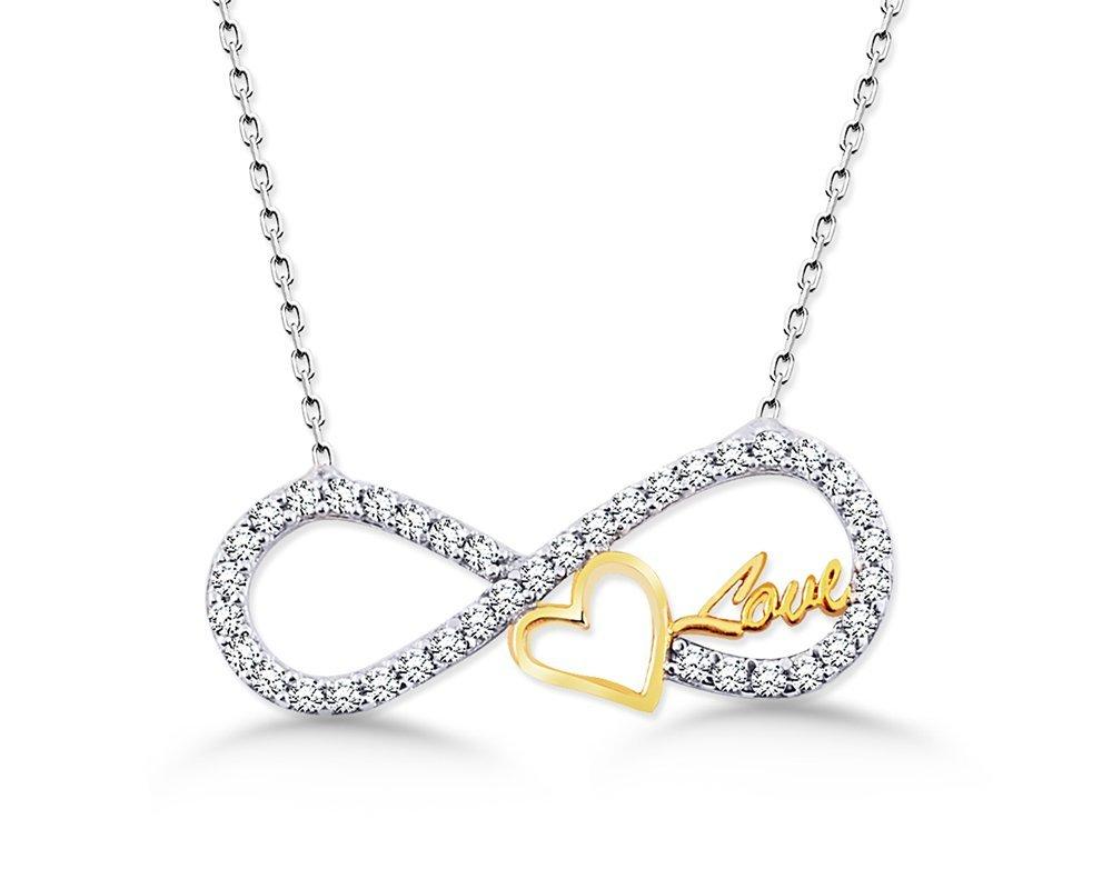 925 Ayar Gümüş Love Yazılı Kalpli Sonsuzluk Kolye