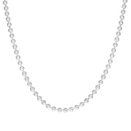 925 Ayar Gümüş Mat Ball Chain Bayan Zincir Kolye - Thumbnail