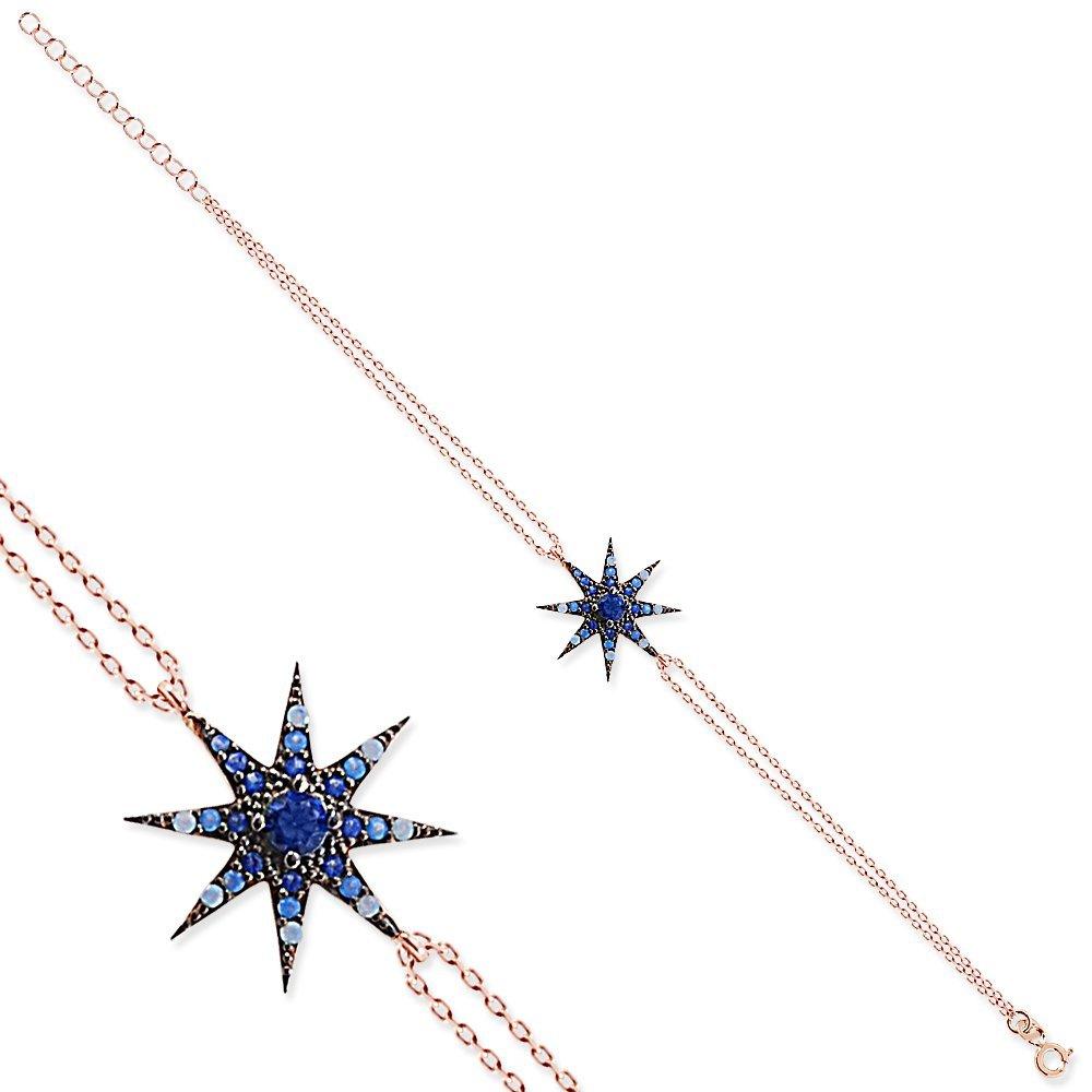 Beyaz-Mavi Zirkon Taşlı Yıldız Tasarım 925 Ayar Gümüş Bayan Bileklik