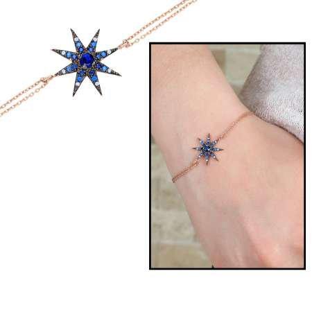 Beyaz-Mavi Zirkon Taşlı Yıldız Tasarım 925 Ayar Gümüş Bayan Bileklik - Thumbnail