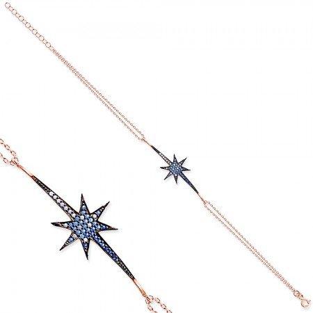 Beyaz-Mavi Zirkon Taşlı Kuyruklu Yıldız 925 Ayar Gümüş Bayan Bileklik - Thumbnail