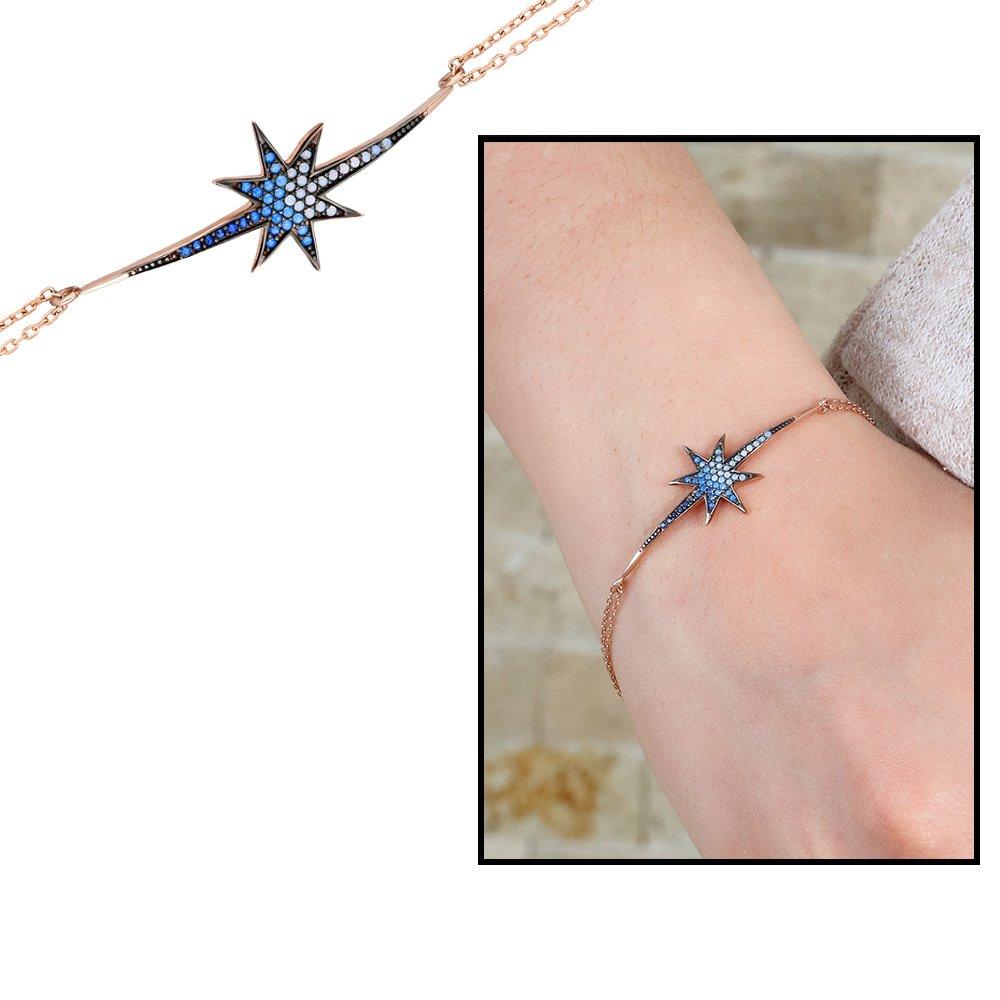 Beyaz-Mavi Zirkon Taşlı Kuyruklu Yıldız 925 Ayar Gümüş Bayan Bileklik