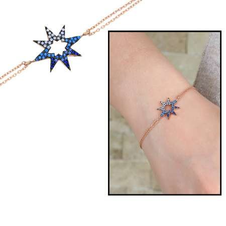 Zirkon Taşlı Yıldız Tasarım 925 Ayar Gümüş Bayan Bileklik - Thumbnail
