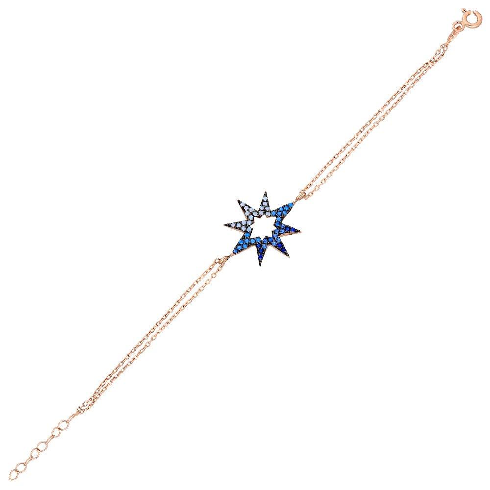Zirkon Taşlı Yıldız Tasarım 925 Ayar Gümüş Bayan Bileklik