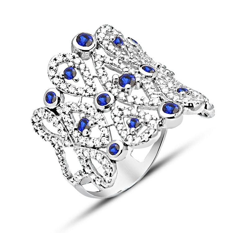 925 Ayar Gümüş Mavi Beyaz Zirkon Taşlı Yüzük