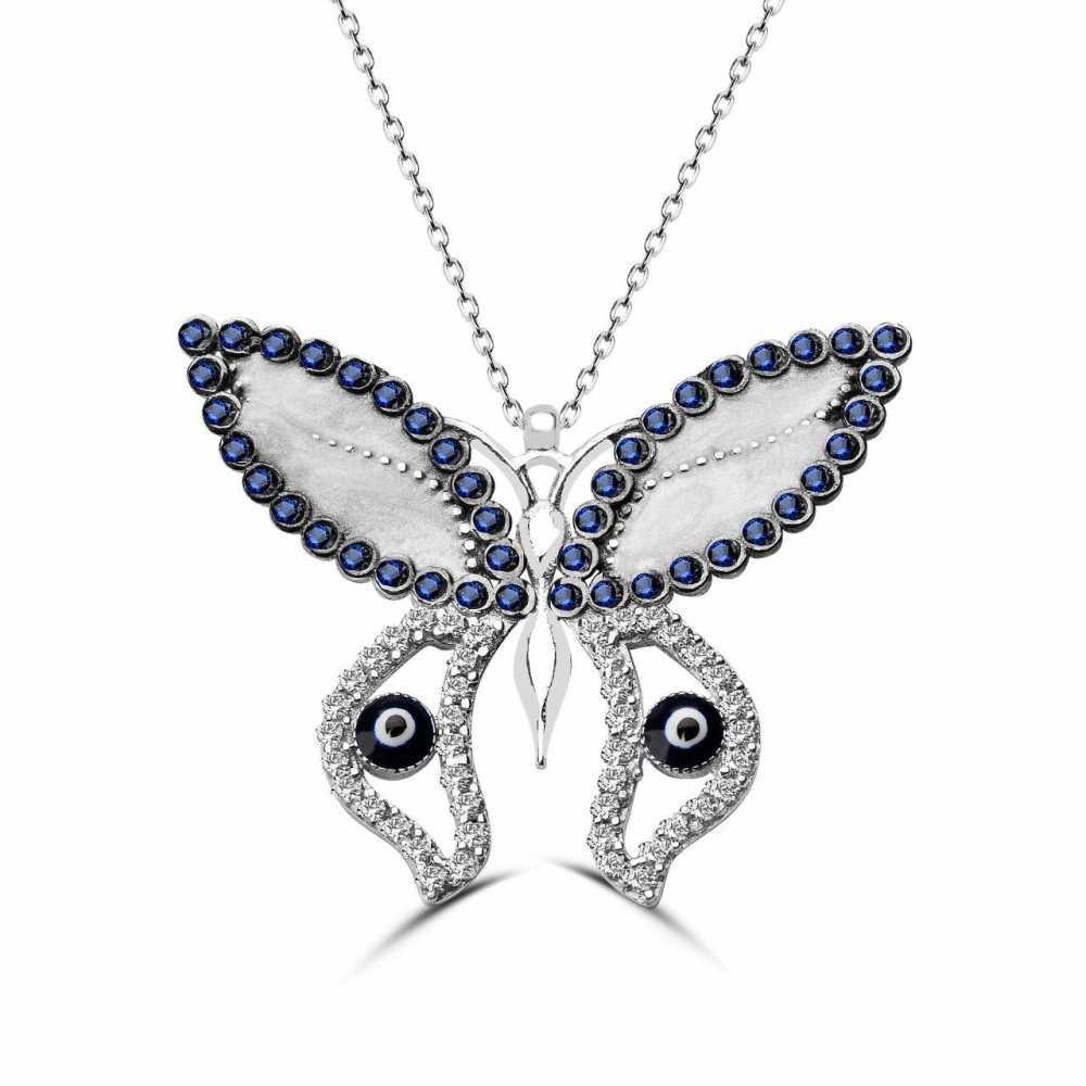 925 Ayar Gümüş Mavi Gözlü Kelebek Kolye