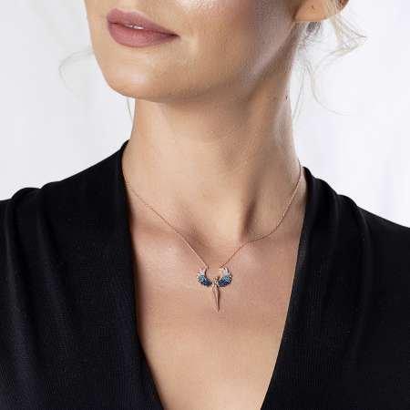 Mavi-Beyaz Zirkon Taşlı Çift Melek Tasarım 925 Ayar Gümüş Bayan Kolye - Thumbnail