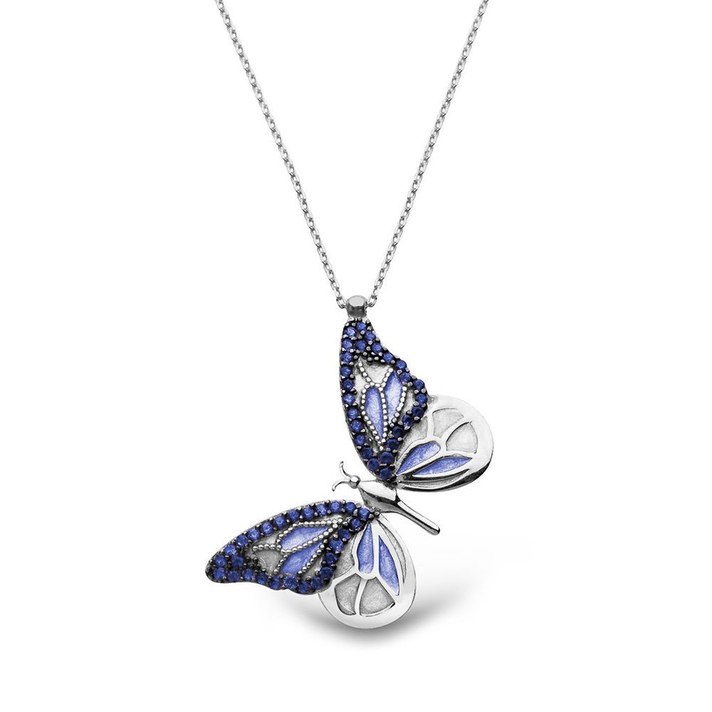 Mavi Zirkon Taşlı Kelebek Tasarım 925 Ayar Gümüş Bayan Kolye