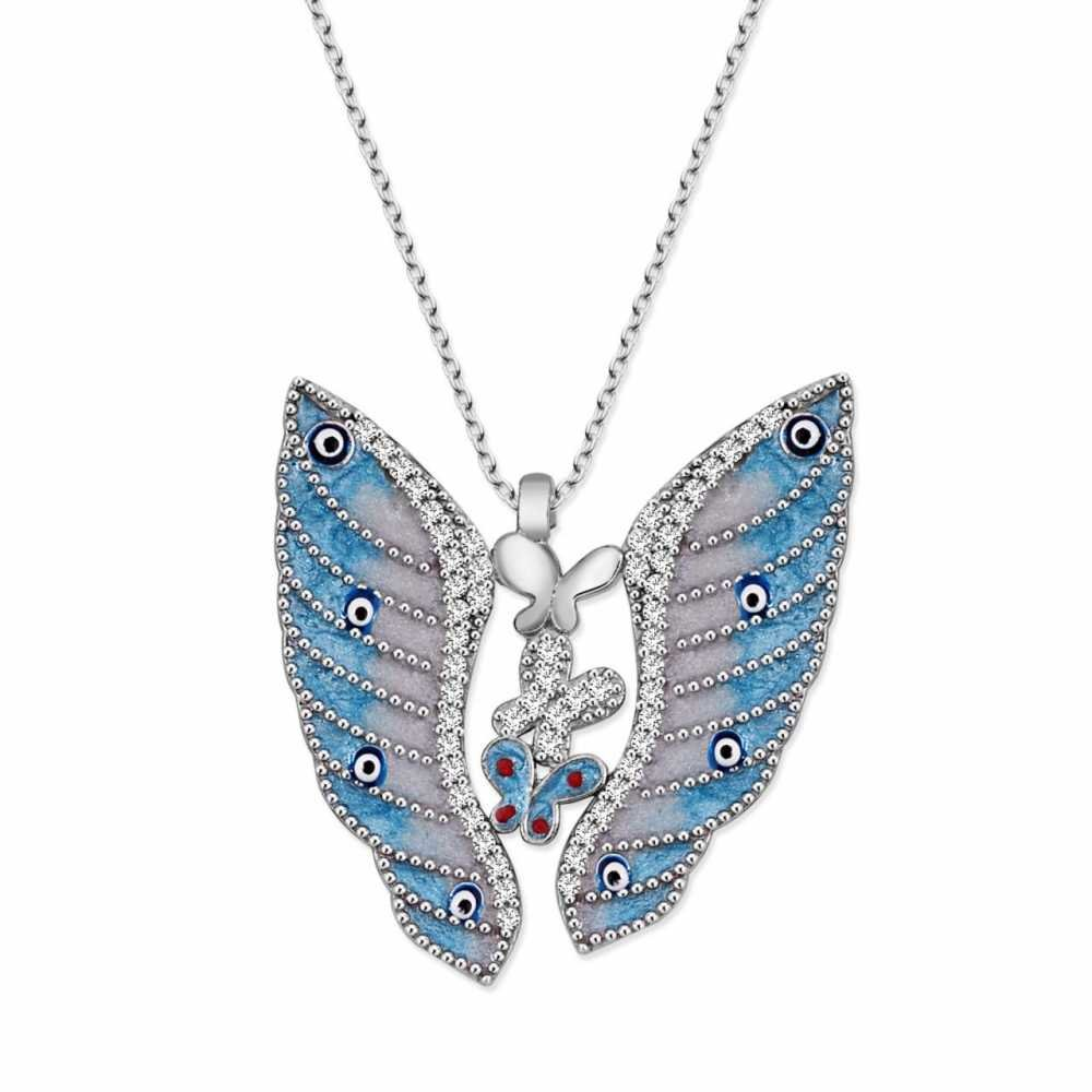 925 Ayar Gümüş Mavi Kelebek Tasarım Kolye