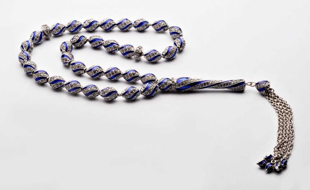 925 Ayar Gümüş Mavi Mine Kaplamalı Zirkon Taşlı Tesbih