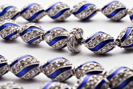 925 Ayar Gümüş Mavi Mine Kaplamalı Zirkon Taşlı Tesbih - Thumbnail