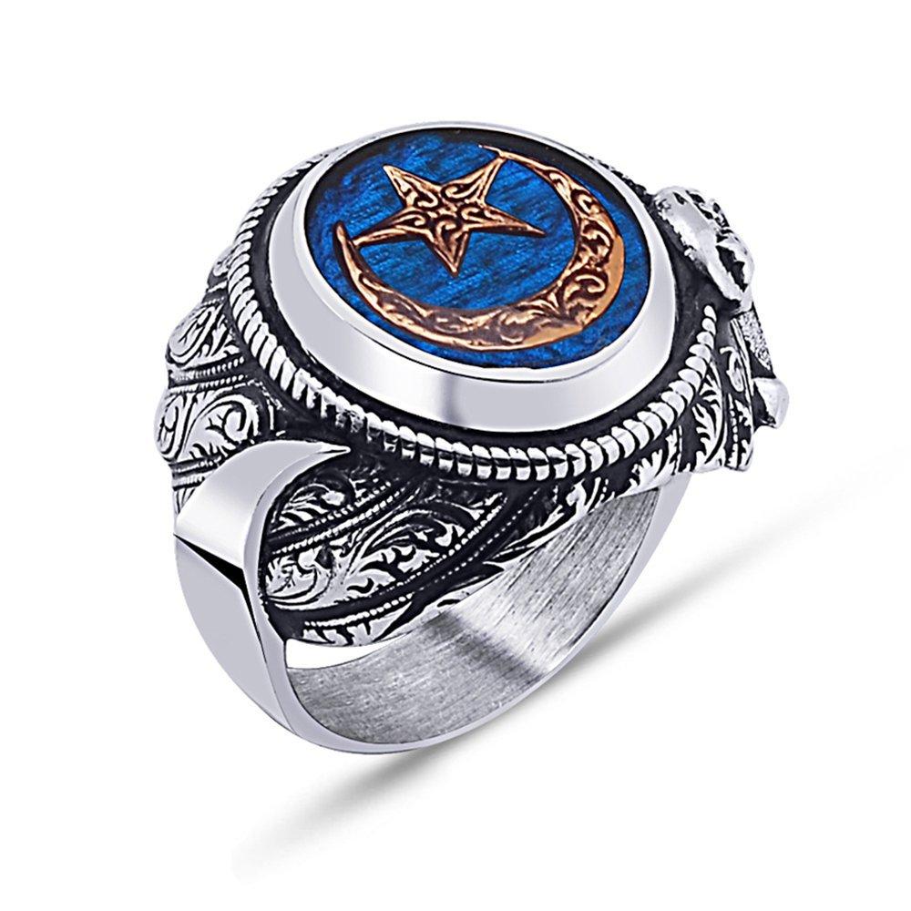 925 Ayar Gümüş Mavi Mine Üzerine Ay Yıldız Desen Hançer Tasarım Yüzük