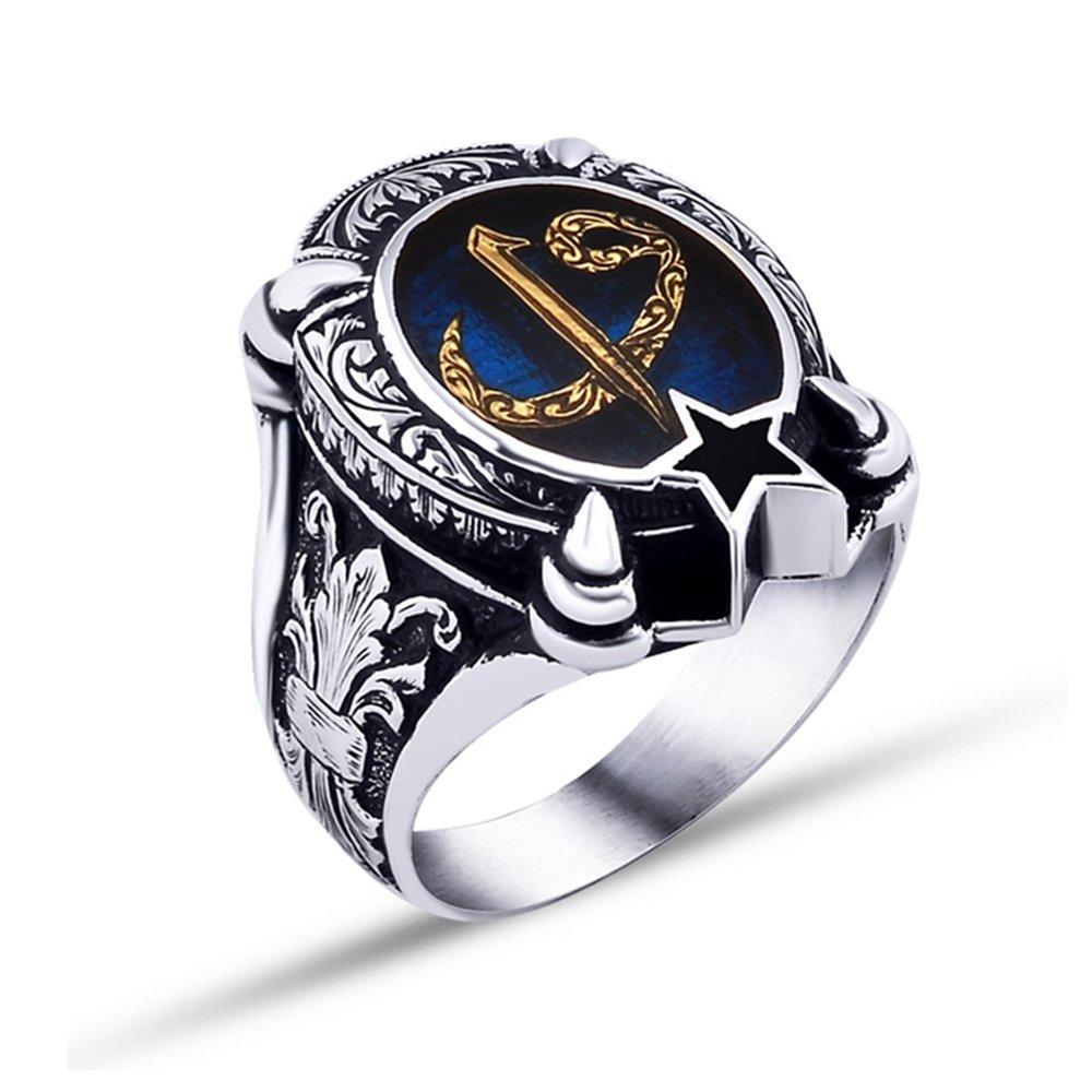 925 Ayar Gümüş Mavi Mine Üzerine Ayyıldız Model Elif Vav Harfli Yüzük
