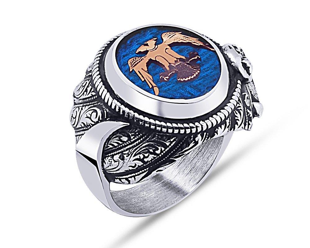 925 Ayar Gümüş Mavi Mine Üzerine Çift Başlı Kartal Desen Hançer Tasarım Yüzük