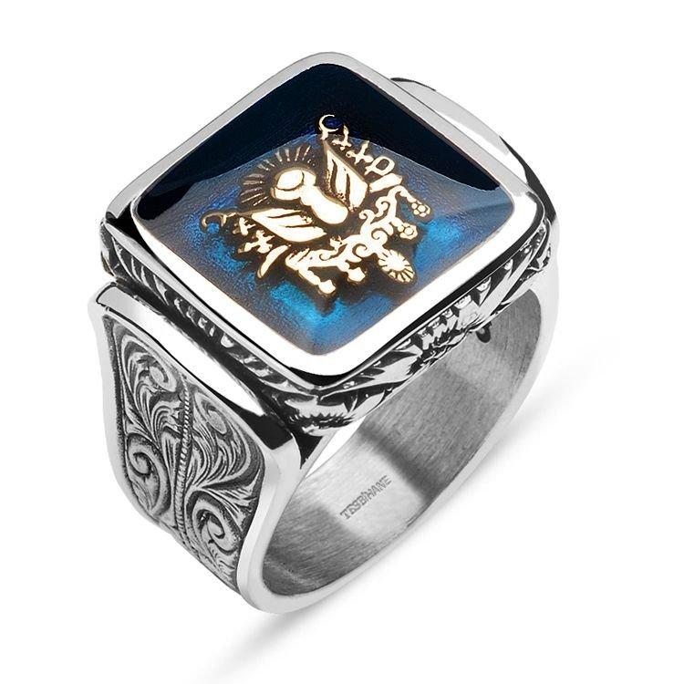 925 Ayar Gümüş Mavi Mine Üzerine Devlet Armalı Kare Yüzük