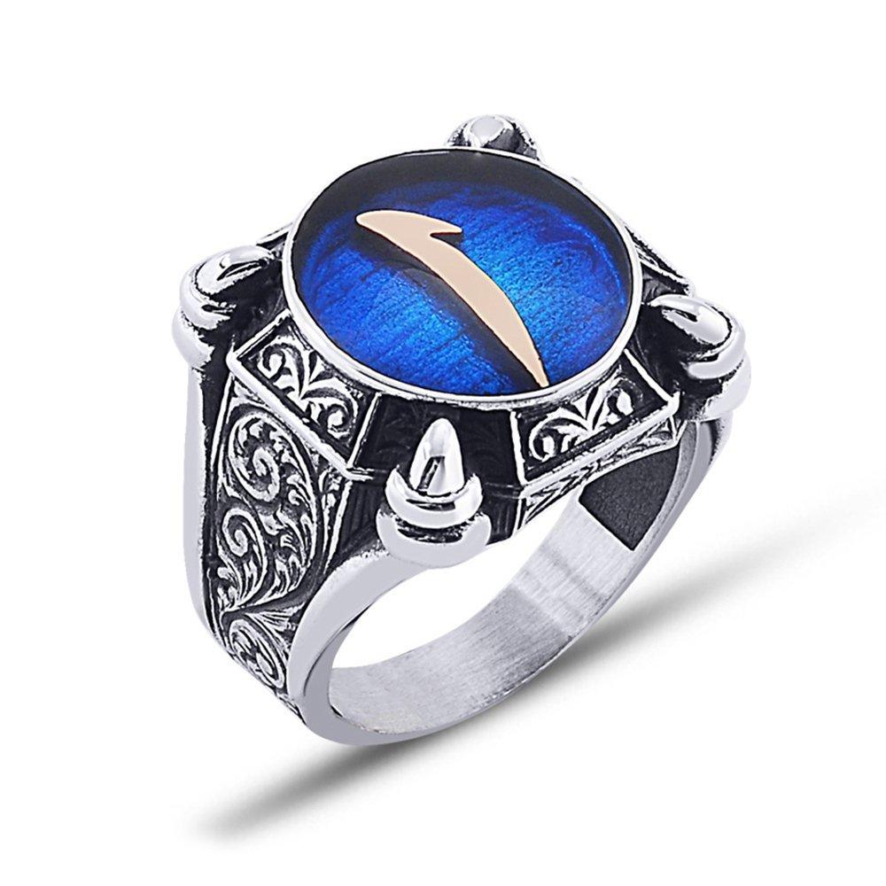 925 Ayar Gümüş Mavi Mine Üzerine Elif Desen Yüzük Model 3