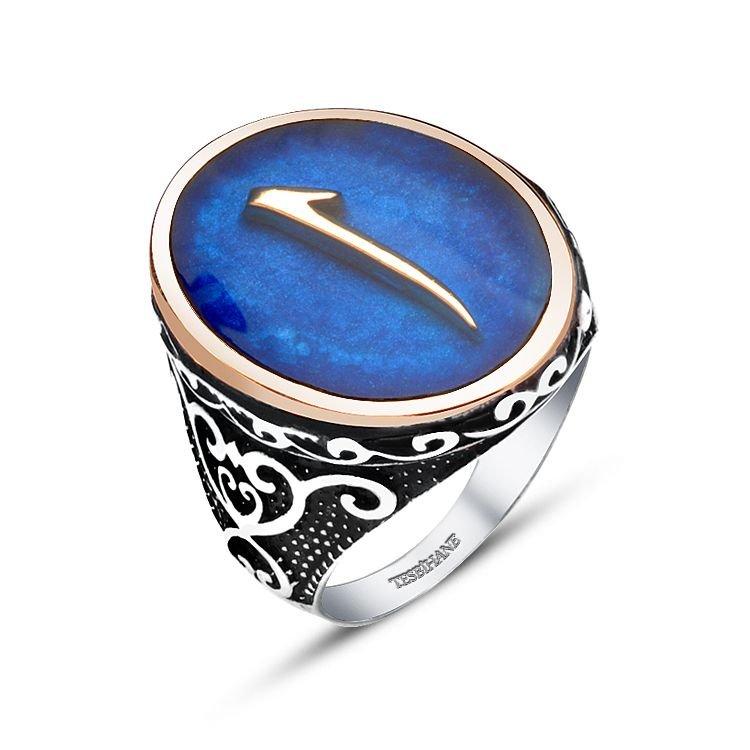 925 Ayar Gümüş Mavi Mine Üzerine Elif Harfli Yüzük