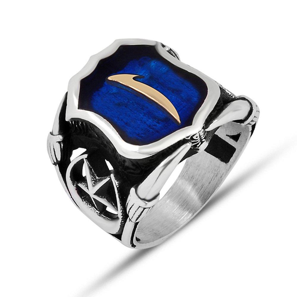 925 Ayar Gümüş Mavi Mine Üzerine ''Elif'' İşlemeli Yüzük