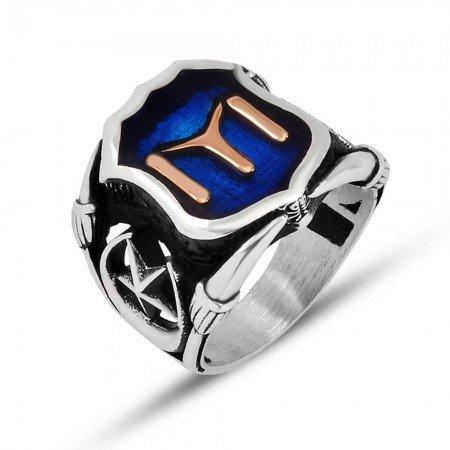 925 Ayar Gümüş Mavi Mine Üzerine ''Kayı'' İşlemeli Yüzük - Model 1 - Thumbnail