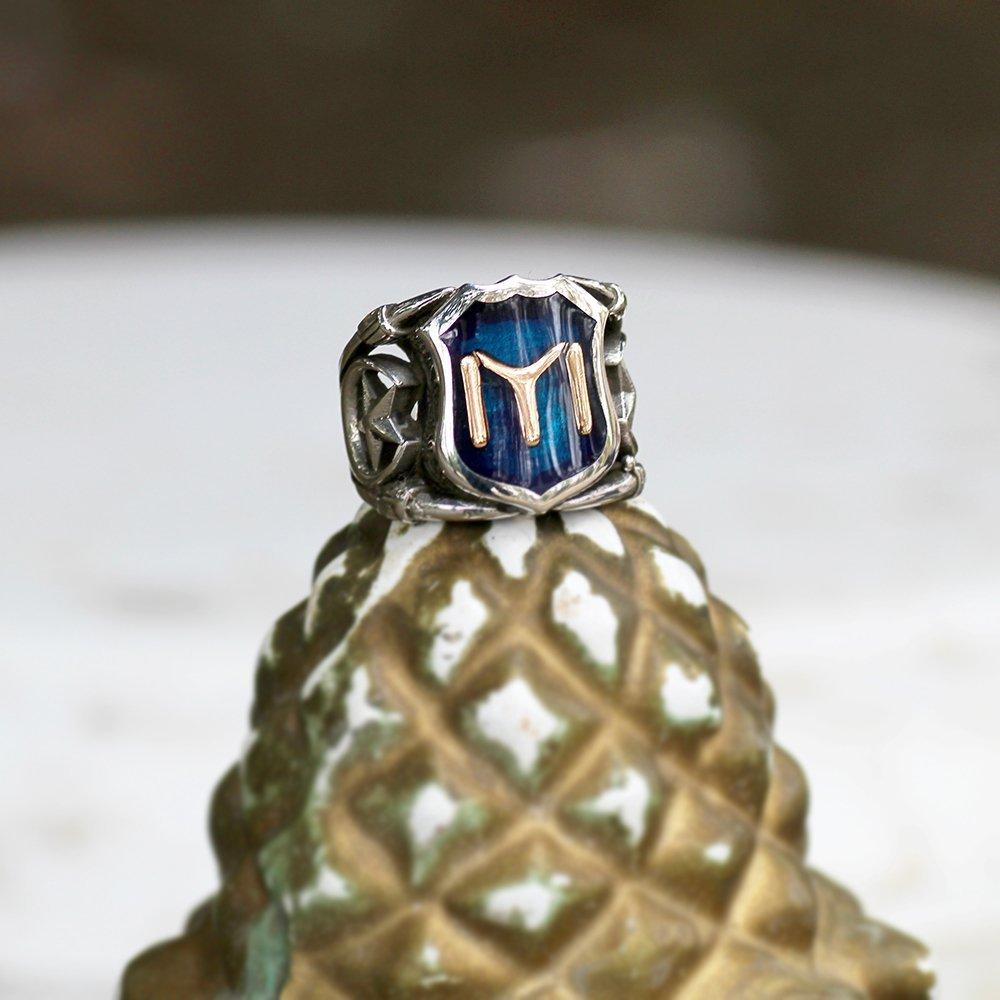 925 Ayar Gümüş Mavi Mine Üzerine ''Kayı'' İşlemeli Yüzük - Model 1