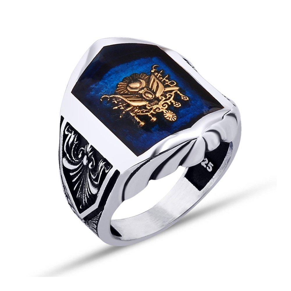 925 Ayar Gümüş Mavi Mine Üzerine Osmanlı Armalı Yüzük