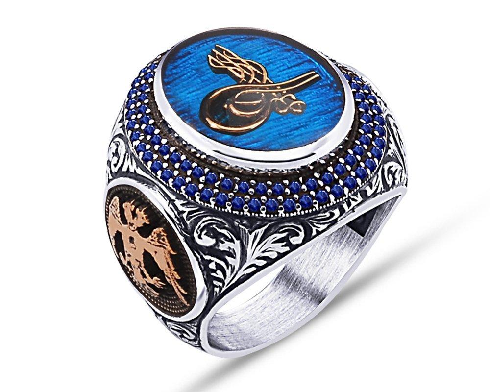 925 Ayar Gümüş Mavi Mine Üzerine Tuğra Desen Yüzük - Model 2