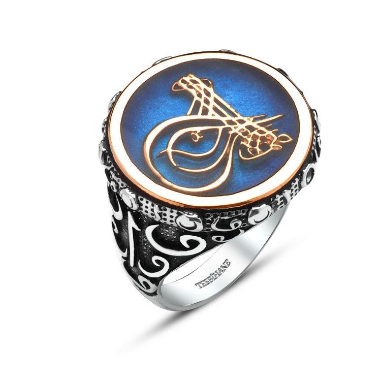 925 Ayar Gümüş Mavi Mine Üzerine Tuğralı Elif Vav Yüzük