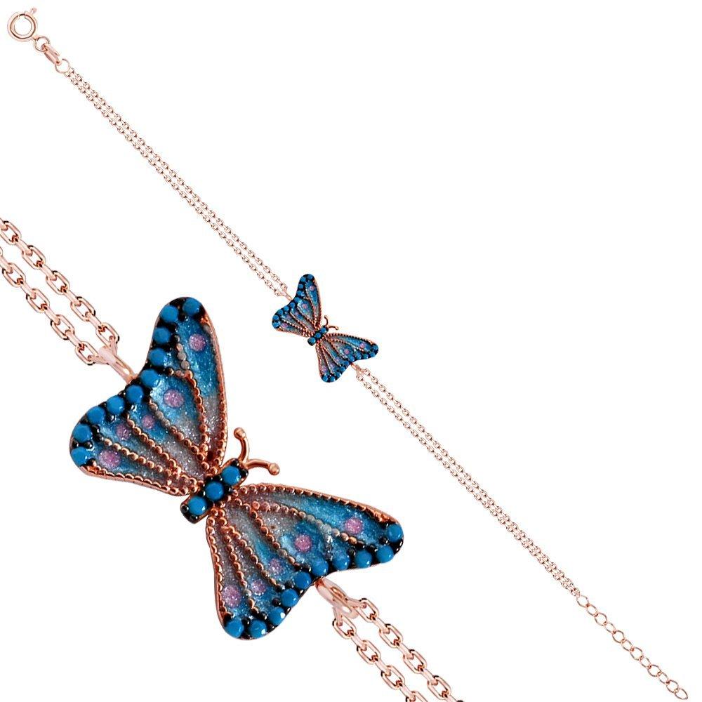 925 Ayar Gümüş Mavi Mineli Kelebek Rose Bileklik
